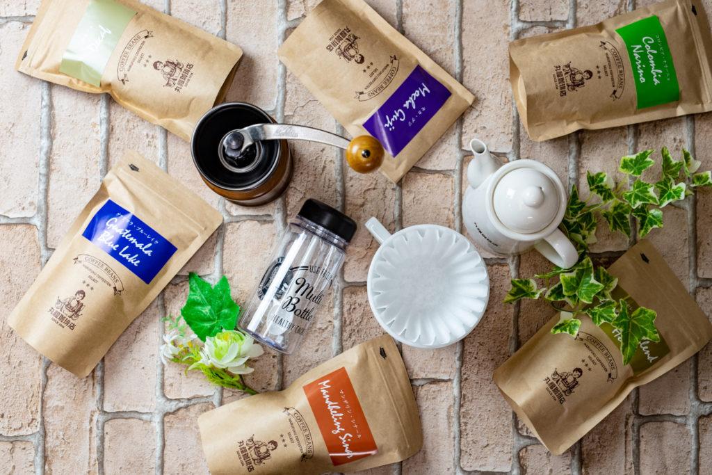 産地や品種によって個性豊かな味と香りが楽しめる丸福セレクトコーヒー豆